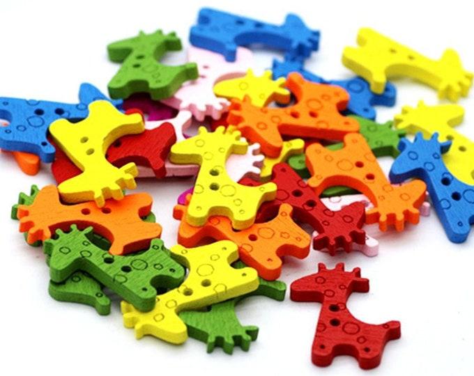 CLEARANCE Pack of 90 Assorted Colours Wood Giraffe Buttons. Wooden Dress Maker Children Fasteners