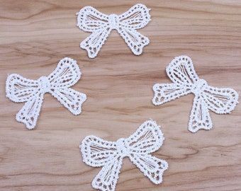 Pack of 20 White Embroidered Bows. 4cm x 5cm Wedding Dress Appliques Xmas