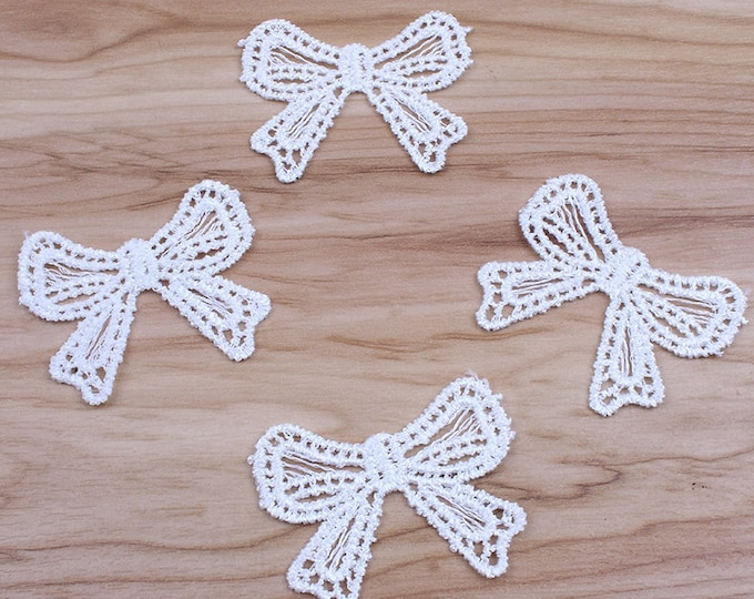 Pack of 10 White Embroidered Bows. 4cm x 5cm Wedding Dress Appliques Xmas
