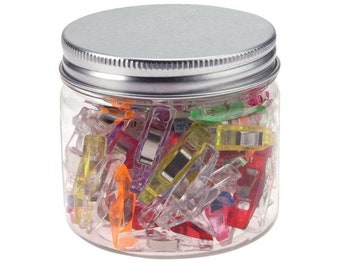 Jar of 45 MINI Fabric and Sewing Clips. 26mm x 8mm. Assorted Colours. Fabric Holder Paper Clamps Pack