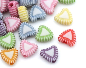 Pack of 200 Acrylic Assorted Candy Colours Love Heart Beads. 7mm x 8mm Spacers