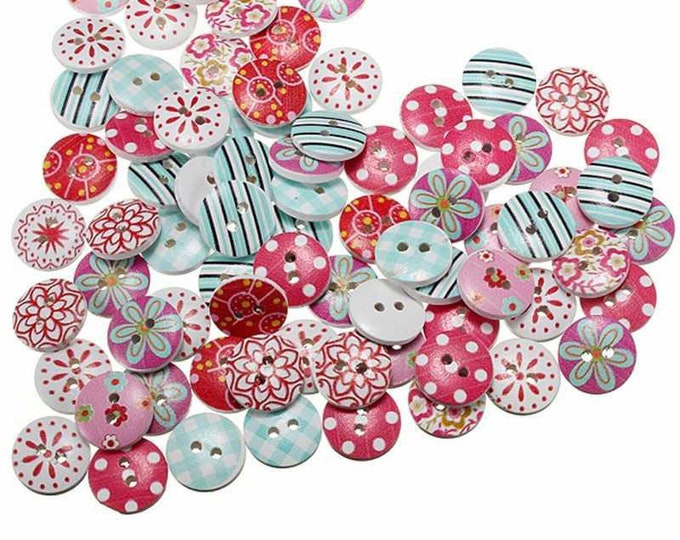 Pack of 100 Round Assorted Mix Floral and Stripe Patterned Wood Buttons. 15mm Diameter.