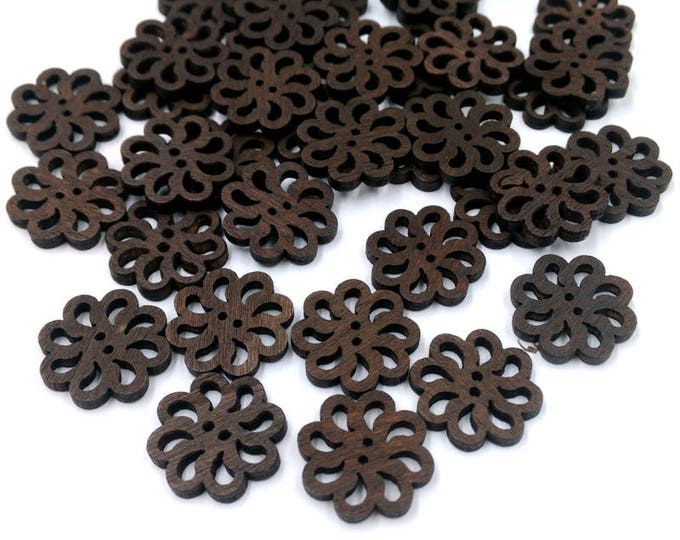 CLEARANCE Pack of 50 Round Brown Wood Sunflower Floral Buttons. 20mm Closures. Wooden Fasteners
