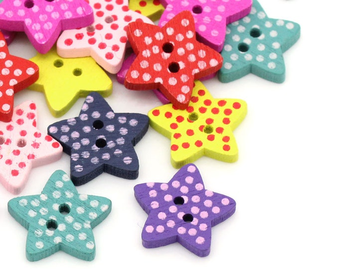 Pack of 100 Assorted Colours Wood Polka Dot Star Buttons. 15mm Wooden Clothing Accessory