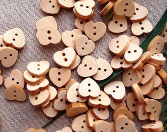 Pack of 100 Wooden Heart Buttons. Natural Wood Colour Children's Fasteners. 10mm Plain Design