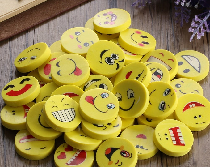 Pack of 20 Yellow Assorted Faces Emoticon Emoji Smiley Erasers. Novelty Rubbers. School Office Stationery