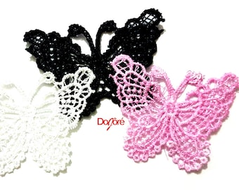 Pack of 10 Lace Butterflies Appliques. Different Colours. Animal Sew On Patch. 55mm x 65mm