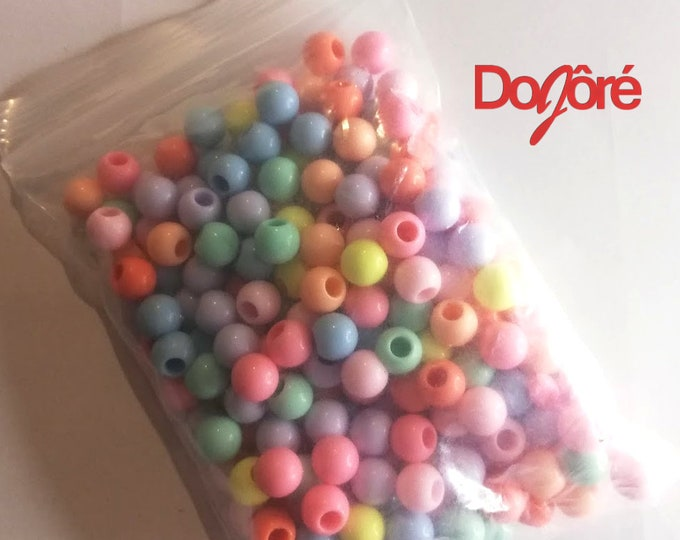 Pack of 170 Assorted Colours 8mm Round Acrylic Gum Ball Beads.  Pony Gumball Spacers.