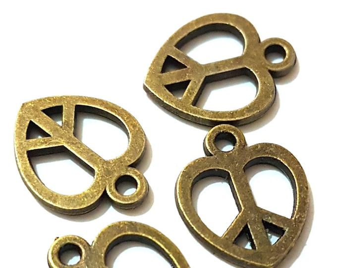 CLEARANCE Pack of 40 Bronze Peace Heart Symbol Charms. 11mrivetsm x 14mm Metal Pendant Signs