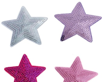 Pack of 3 Different Colours Fabric & Sequin Stars. 9cm Xmas Sew On Patches. Christmas Appliques