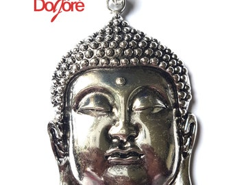 One Piece Large Silver Coloured Buddha Pendant. 95mm x 65mm Meditation Necklace Charm.