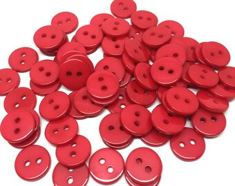 Pack of 100 Round Flat Round Red Resin Buttons. 11mm Plain Plastic Fasteners. Love & Valentine's Day