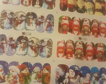 Pack of 2 Sheets of Christmas Nail Art Stickers. Assorted Xmas Designs. 24 Sets. 240 Stickers.