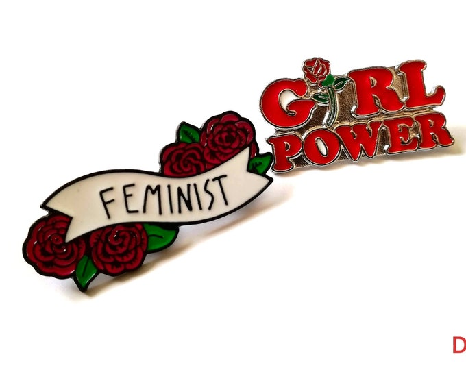 Pack of 2 Girl Power & Feminist Brooch. Female Empowerment Metal Pins