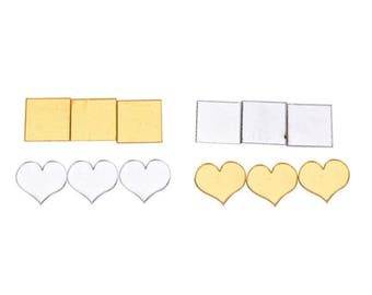 CLEARANCE Pack of 100 Acrylic Mirror Tiles. Different Styles. 2cm x 2cm Wall Stickers.