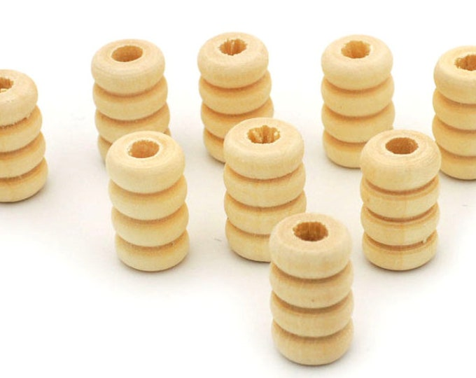 Pack of 100 Natural Wood Coil Beads. 13mm x 7mm Pine Wooden Tubes