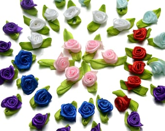 Pack of 100 Assorted Colours Ribbon Flowers. 13mm Fabric Rose Appliques for Xmas Crafts