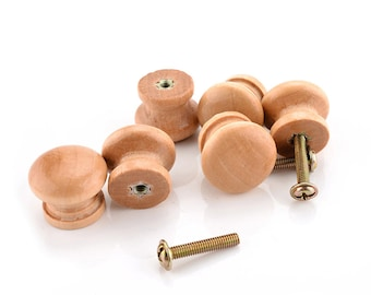 Pack of 10 Mini Brown Varnished Wood Mushroom Knobs With Screws. 24mm x 20mm