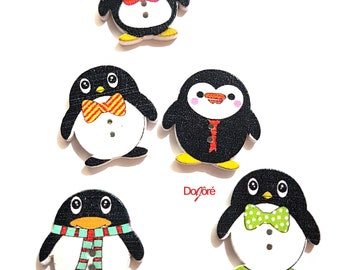 Pack of 100 Assorted Colours Wood Penguin Buttons. Wooden Clothing Accessory