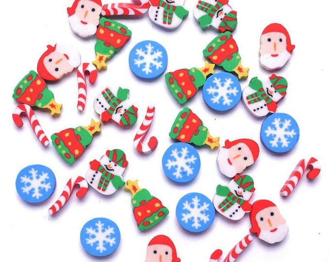 Assorted Colours Christmas Erasers. Pack of 30 Mini Xmas Santa Novelty Rubbers.