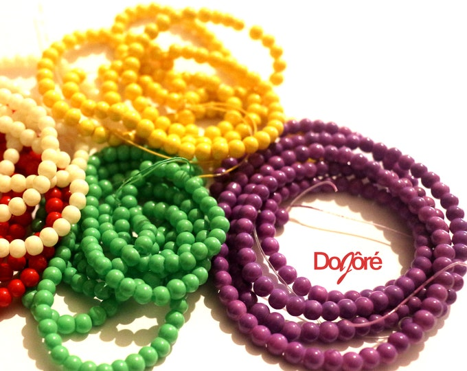 Pack of 200 Round Glass Seed Beads. 4mm Spacers For Jewellery Making. Different Colours Available