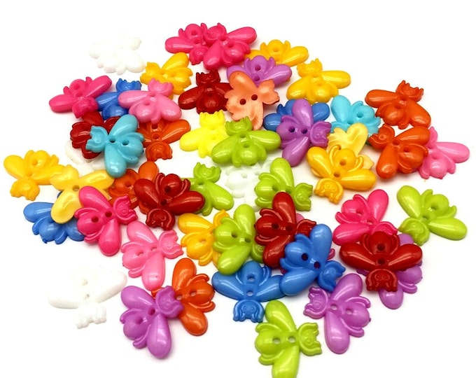 Pack of 100 Assorted Colours Plastic Bee Buttons. 17mm x 22mm Summer Theme