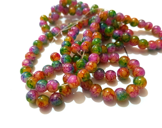 Pack of 120 Round Rainbow Glass Beads. 6mm Multicoloured Ball Spacers