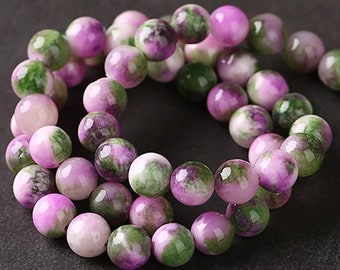 Pack of 35 Pink Green Persian Jade Mottled Round Stone Glass Beads. 10mm Assorted Multicoloured Ball Spacers
