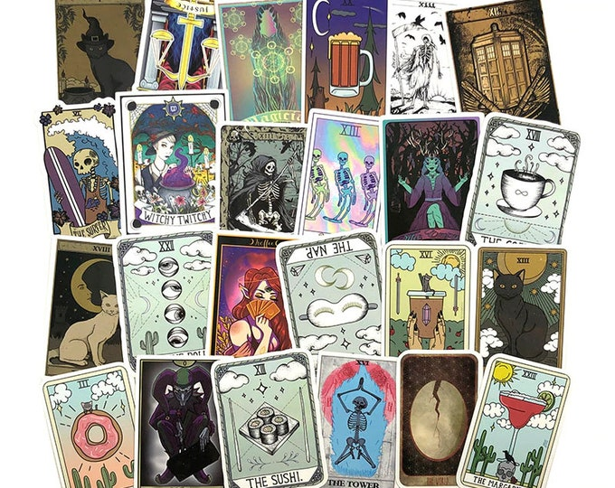 Pack of 50 Assorted Tarot Card Stickers.  Spiritual Occult Witch Decals for Reading, Laptop etc