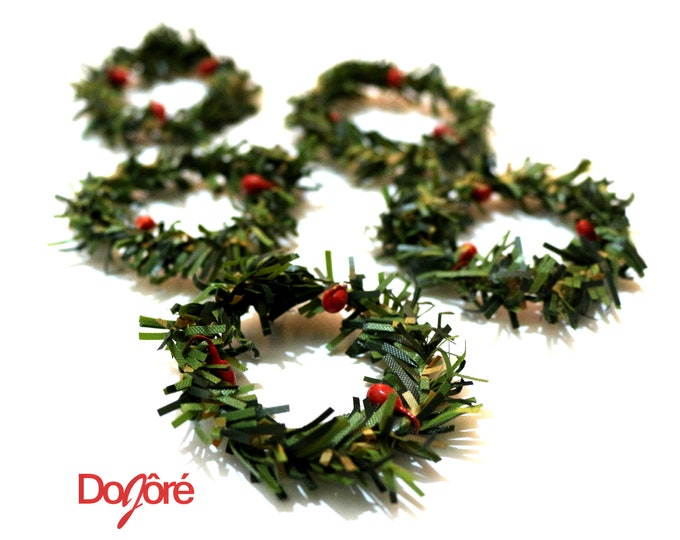 Pack of 10 MINI Xmas Wreaths. Christmas Doll House Decor