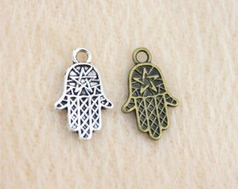 Pack of 50 Hamsa Star Charms. Different Colours. 10mm x 16mm Hand of Fatima Goddess Pendants