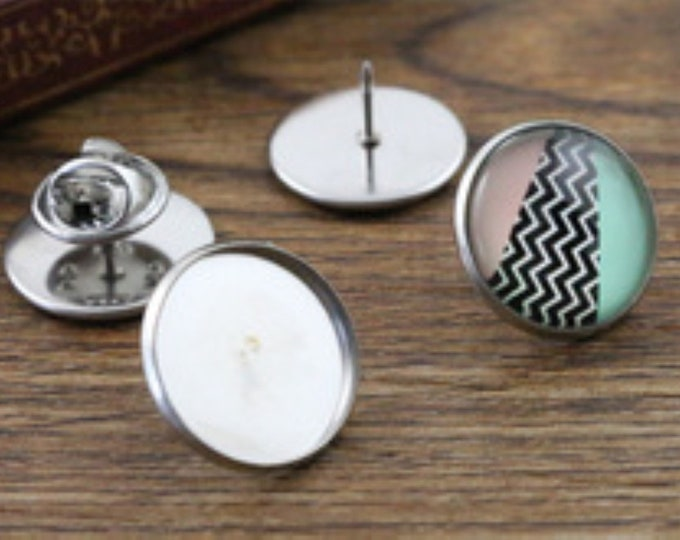 Pair of Cufflinks for 12mm Cabochons & Gems.