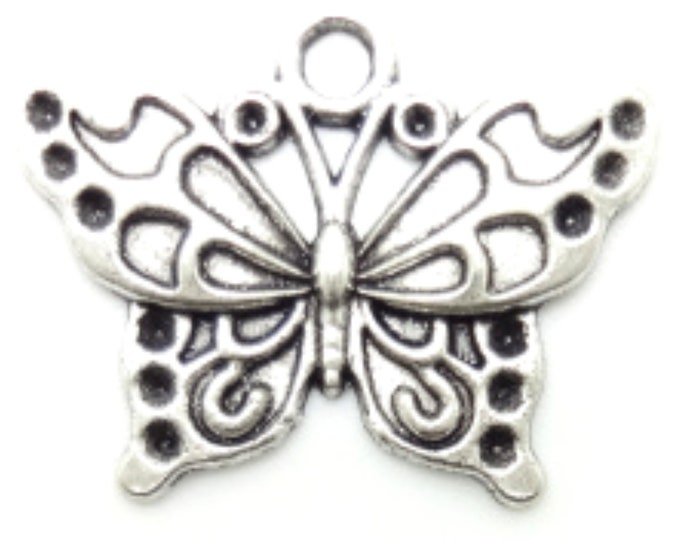 CLEARANCE Pack of 50 Silver Coloured Butterfly Charms.  20mm x 25mm Nature Theme Metal Pendants
