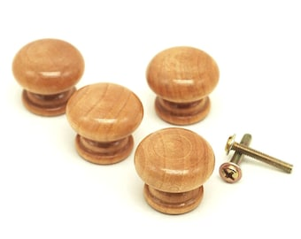 Pack of 10 Mini Brown Varnished Wood Mushroom Knobs. NO SCREWS! 24mm x 20mm