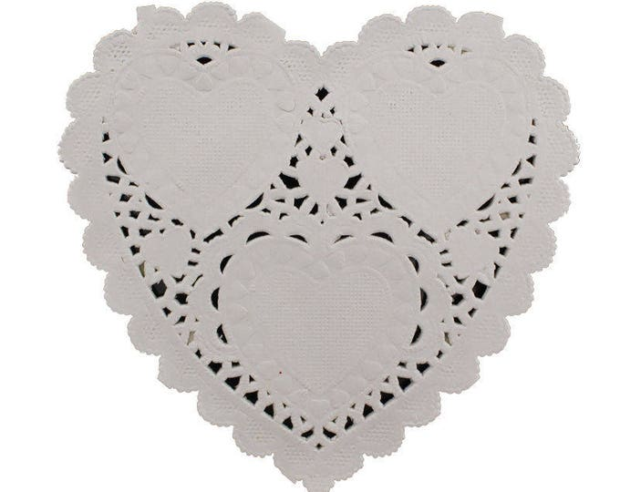 Pack of 100 Xmas Love Heart Paper Doilies 9cm x 10cm. Off White Doily for Valentine's Day & Christmas