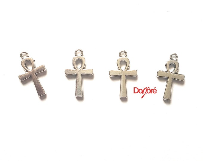 Pack of 20 Silver Colour Ankh Charms. 22mm x 12mm. Egyptian Cross Pendants. Key of Life Crux Ansata.