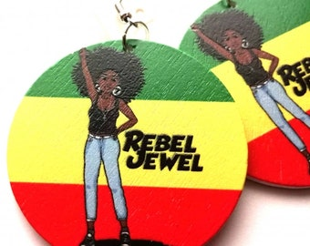 Rasta Love Original Wood Round 5cm Drop Earrings. Wooden Rebel Jewel Design On Both Sides.