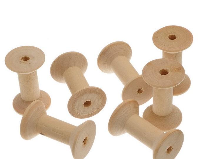 Pack of 10 Empty Natural Wood Bobbin Spools