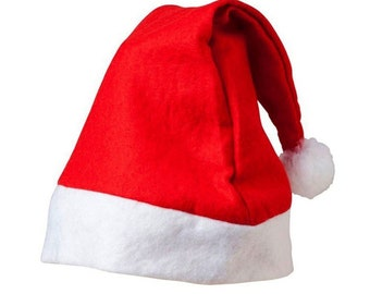 CLEARANCE Red & White Felt Xmas Hat. Christmas Santa Fancy Dress Children Party New Year
