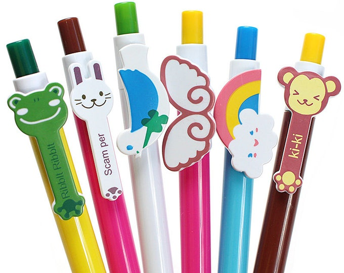 Pack of 10 Animal Theme Ballpoint Pens. Different Colours. School and Office Stationery.