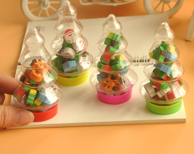 Xmas Mini Erasers In Small Plastic Christmas Tree Bottle.