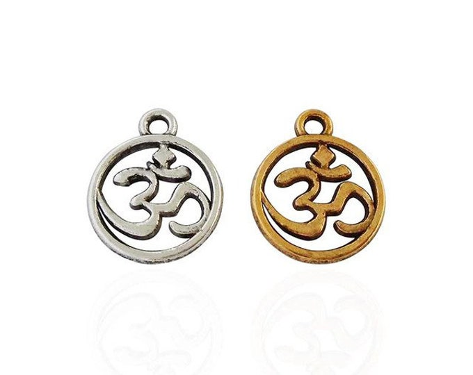 CLEARANCE Pack of 50 Round Om Charms. Different Colours. Aum Meditation Pendants. 14mm x 11mm