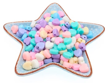 Pack of 300 Assorted Colours Pastel Acrylic Heart Beads. 7mm x 8mm Spacers