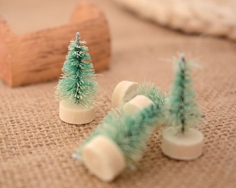 Pack of 10 Miniature Christmas Trees. Seasonal Fairy Garden and Xmas Doll House Decor. 3cm x 1cm