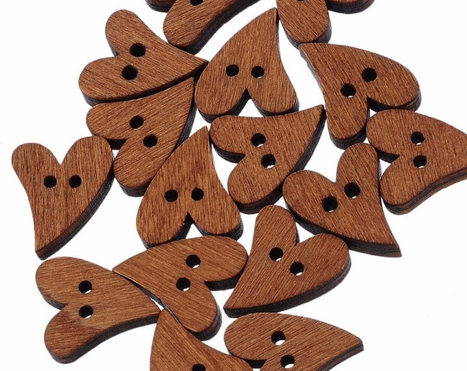 Pack of 50 Brown Irregular Wooden Heart Buttons. Dress Maker Closures & Fasteners. 20mm x 13mm