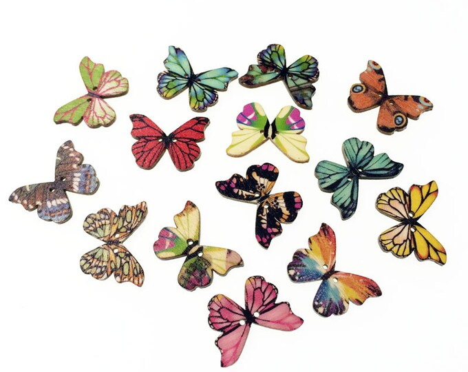 Pack of 50 Assorted Colours Wooden Butterfly Buttons. Dress Maker Nature Fasteners.  24mm x 18mm