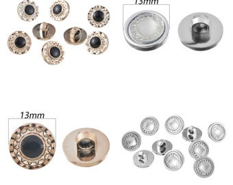 Pack of 45 Mini Shank Buttons. 13mm Round Upholstery and Clothing Fasteners. Gold or Silver