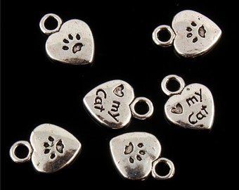 CLEARANCE Pack of 50 Silver Coloured My Cat Charms. Heart Pet Paw Tags. 11mm x 9mm Nature Charms