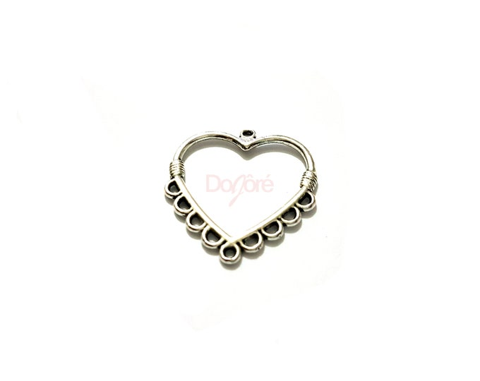 Pack of 20 Silver Coloured Heart Charms. Valentine's Day Romance Jewellery. 26mm x 28mm.
