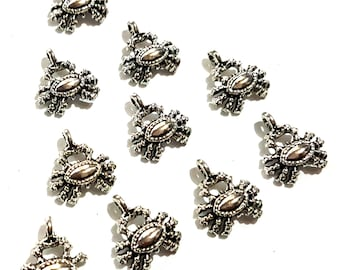 CLEARANCE Pack of 50 Mini Silver Coloured Crab Charms. Spider Halloween Nature Theme Pendants
